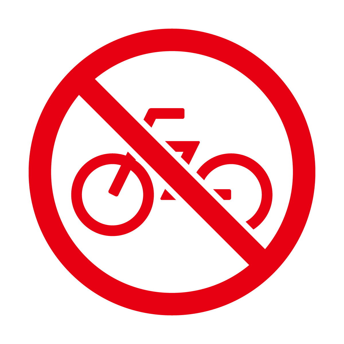赤色の自転車走行や駐輪禁止マークのカッティングステッカーシール