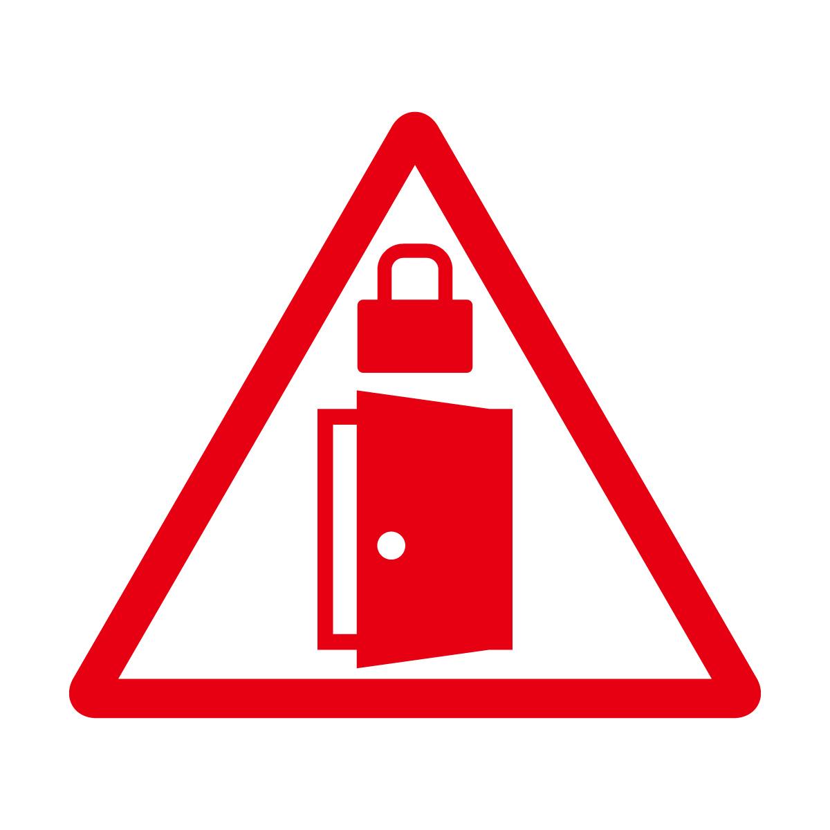 赤色の扉・ドアの施錠注意 鍵掛け マークのカッティングステッカー・シール