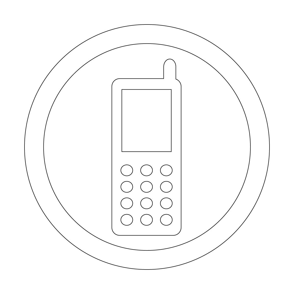 白色の携帯電話の使用許可マークのカッティングステッカーシール