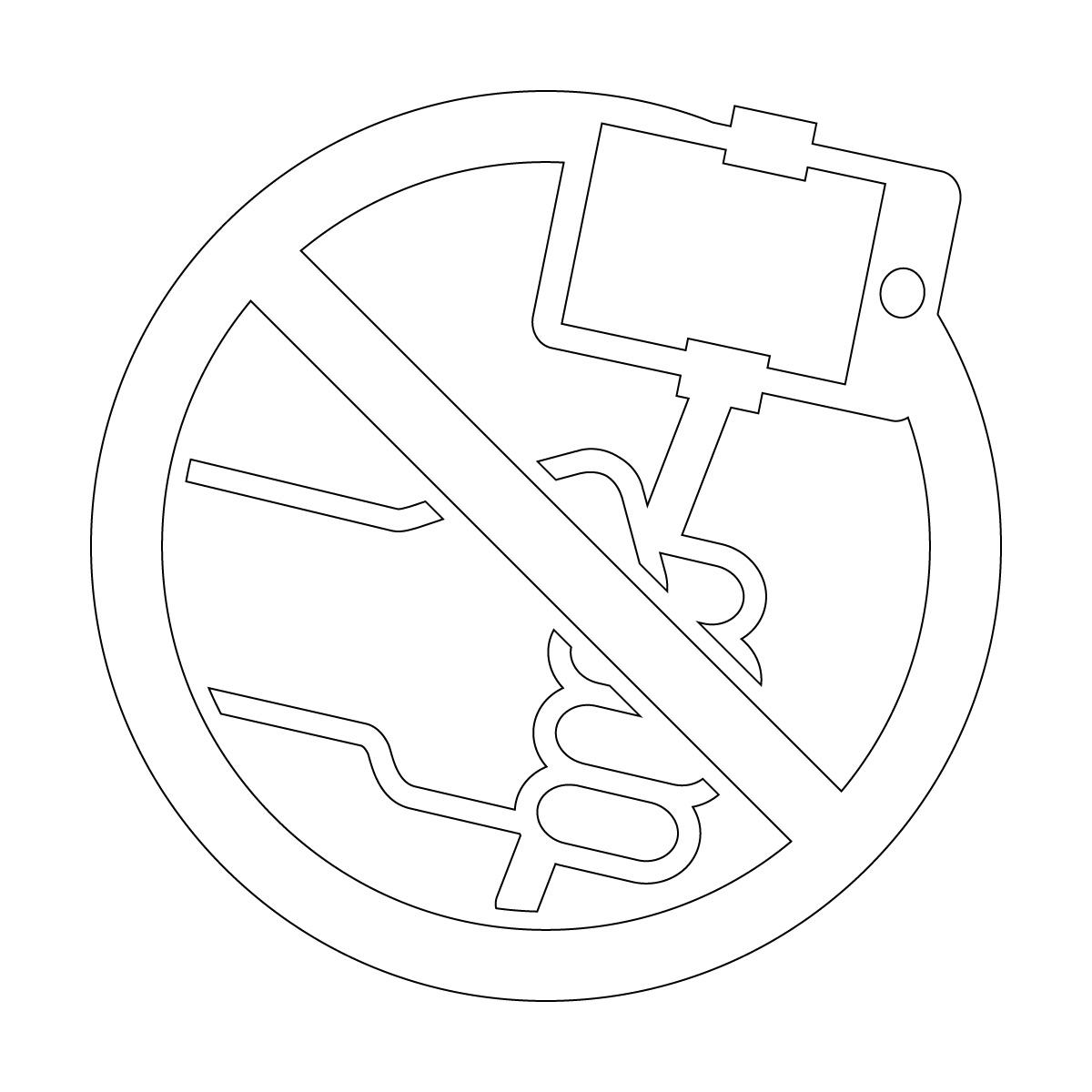 白色の自撮り棒禁止マークのカッティングシートステッカー