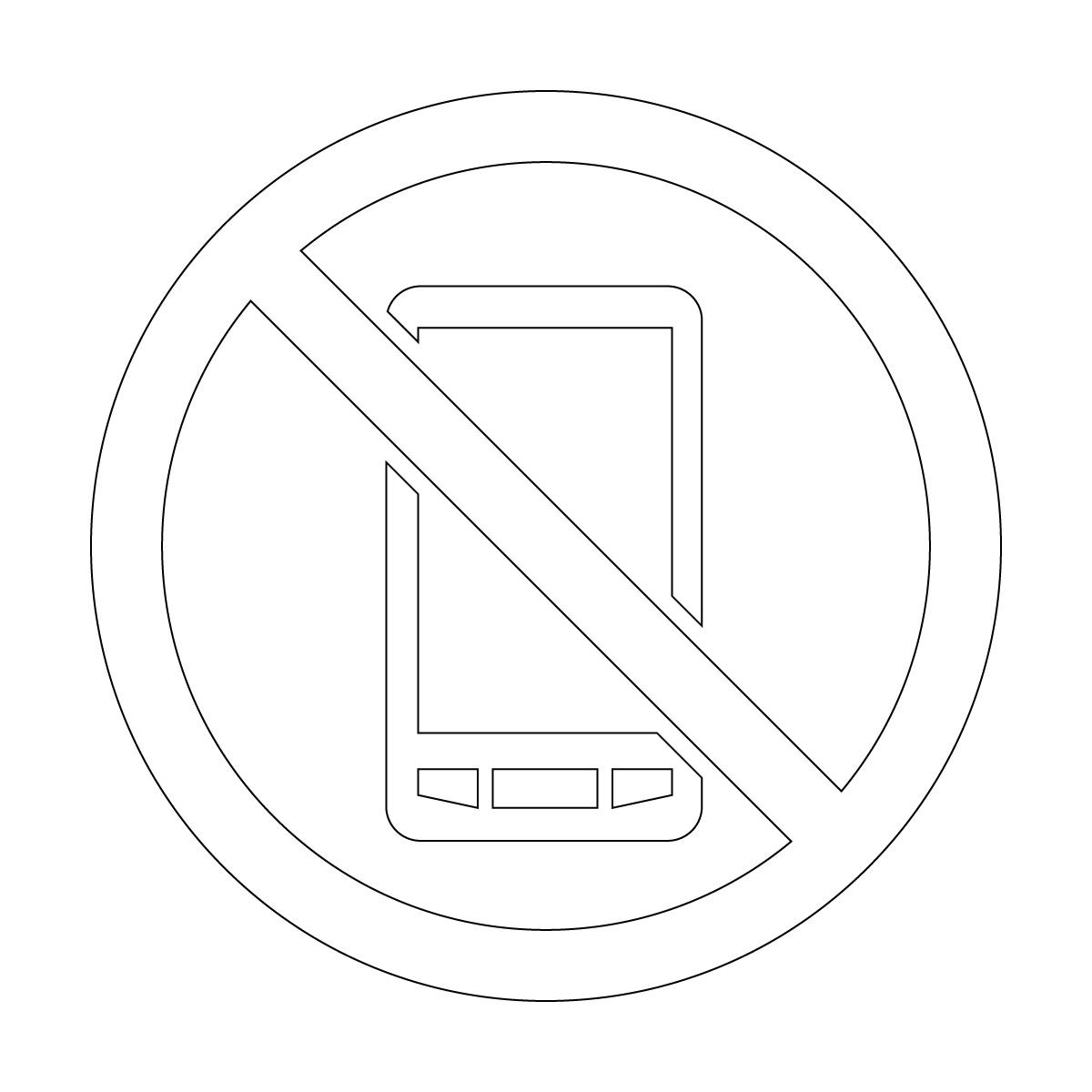 白色のスマートフォン・携帯電話の使用禁止マークのカッティングシートステッカー