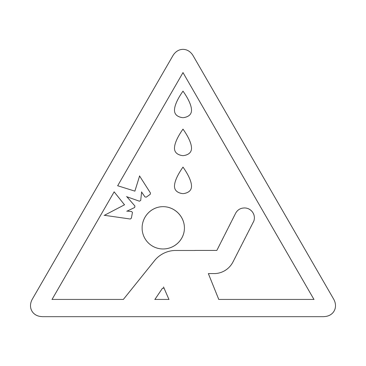 白色の水漏れ・鳥フン注意マークのカッティングシートステッカー