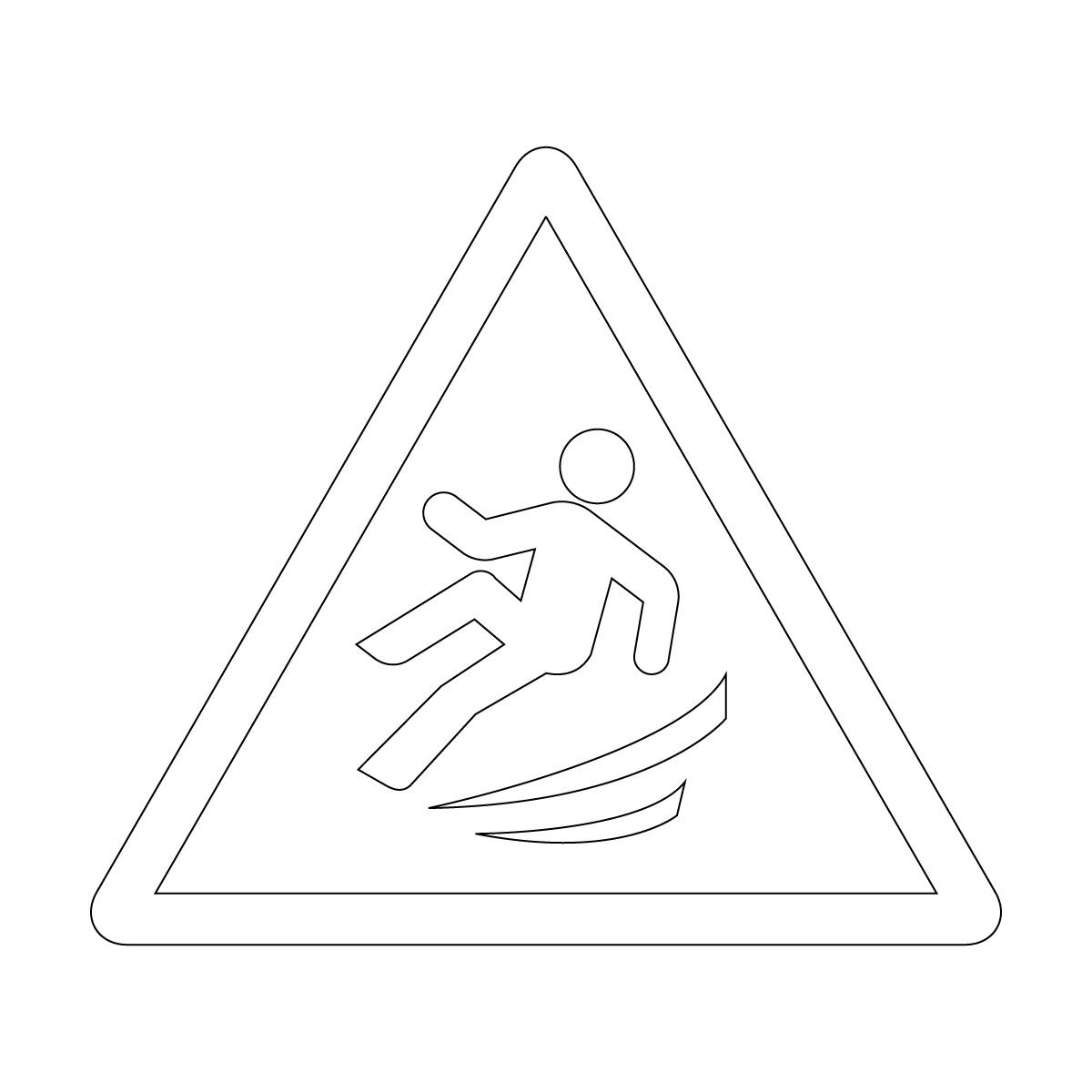 白色の足元の滑り・横転注意標識のカッティングステッカーシール
