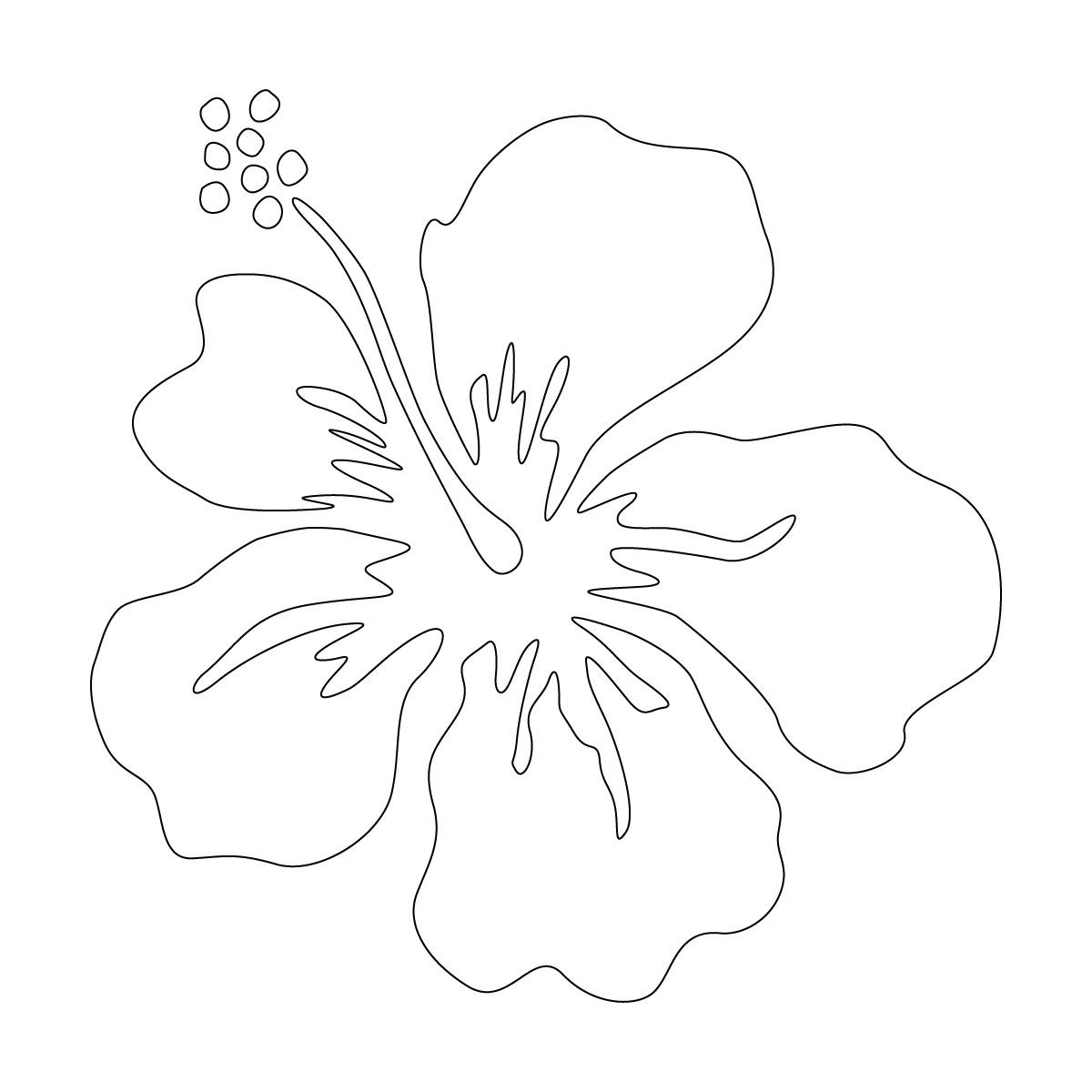 白色のハイビスカス・南国植物のカッティングステッカー・シール