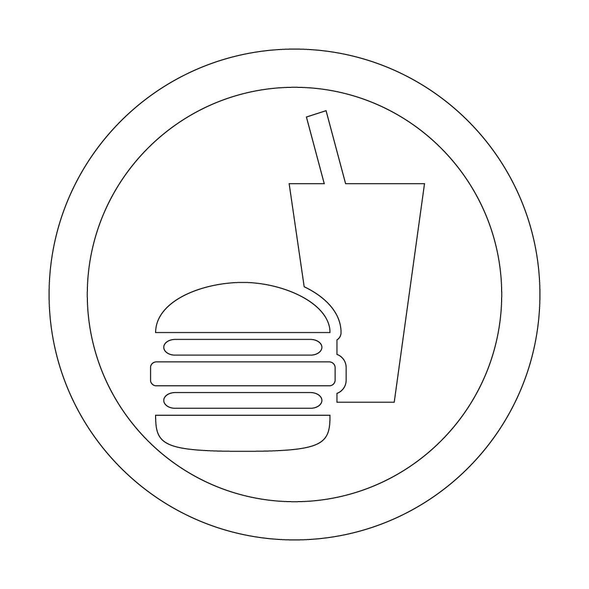白色の飲食OKマークのカッティングシートステッカー