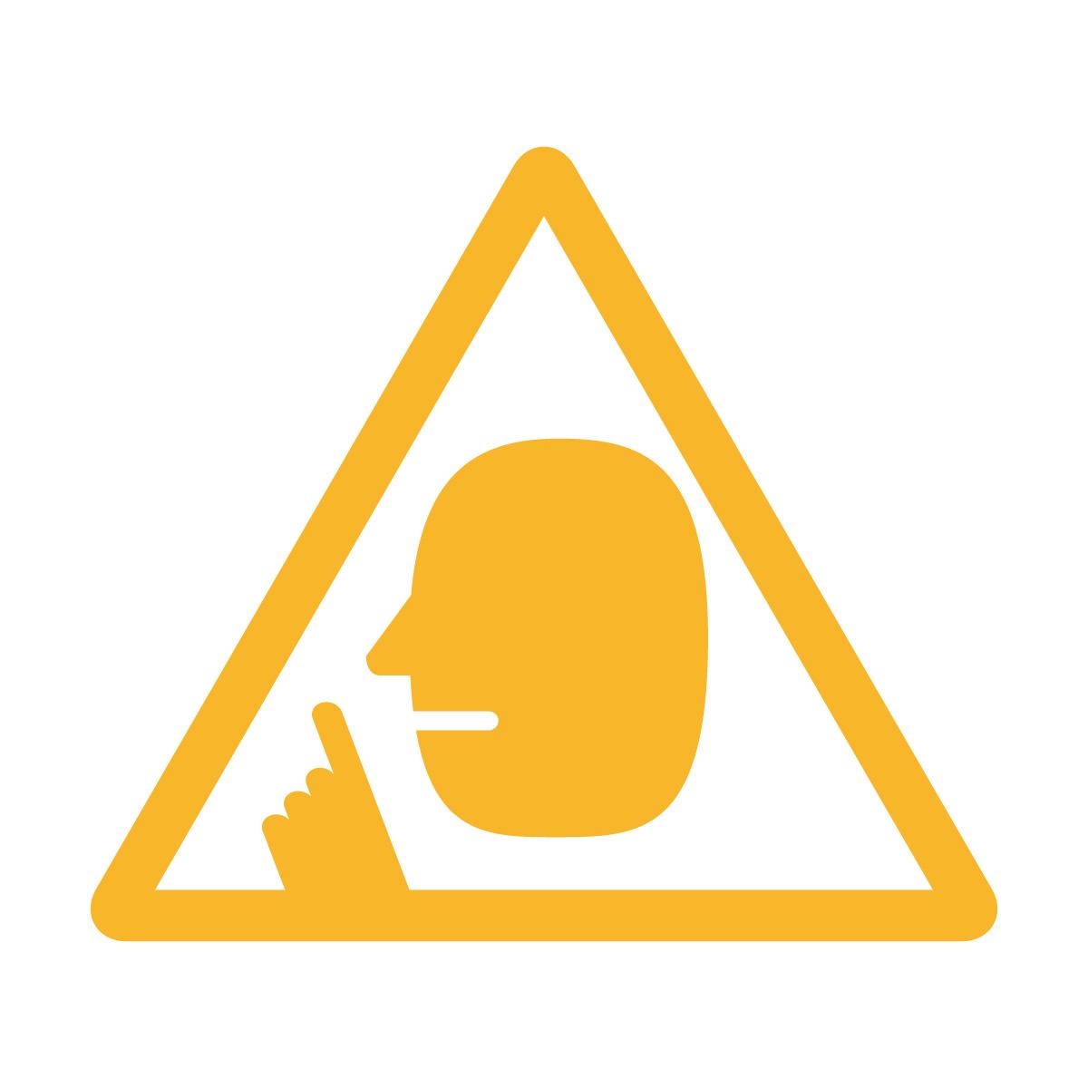 黄色の 騒音注意マークのカッティングステッカー・シール
