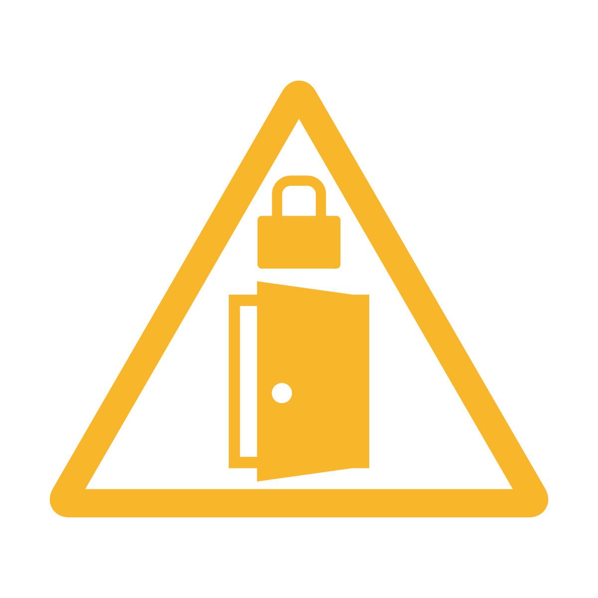 黄色の扉・ドアの施錠注意 鍵掛け マークのカッティングステッカー・シール