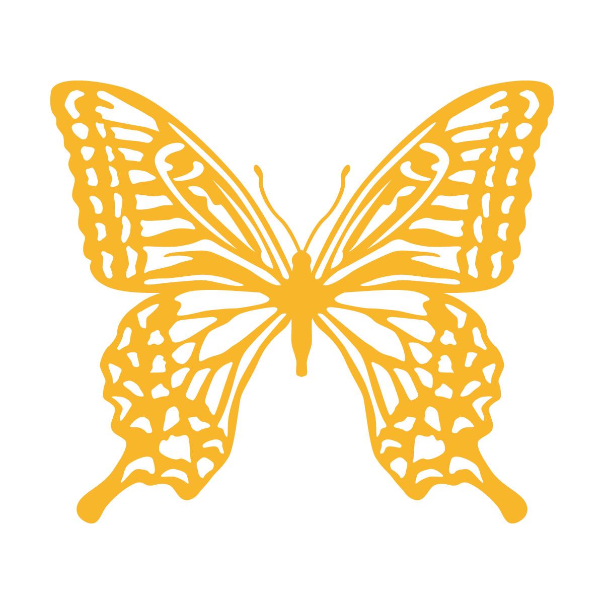 黄色のアゲハ蝶・バタフライのカッティングステッカー・シール