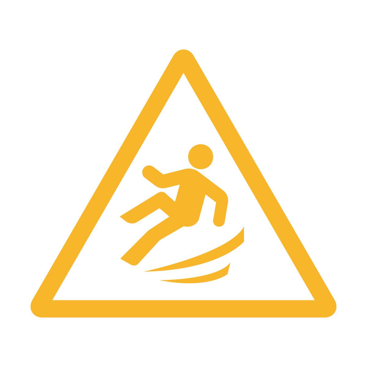 黄色の足元の滑り・横転注意標識のカッティングステッカーシール