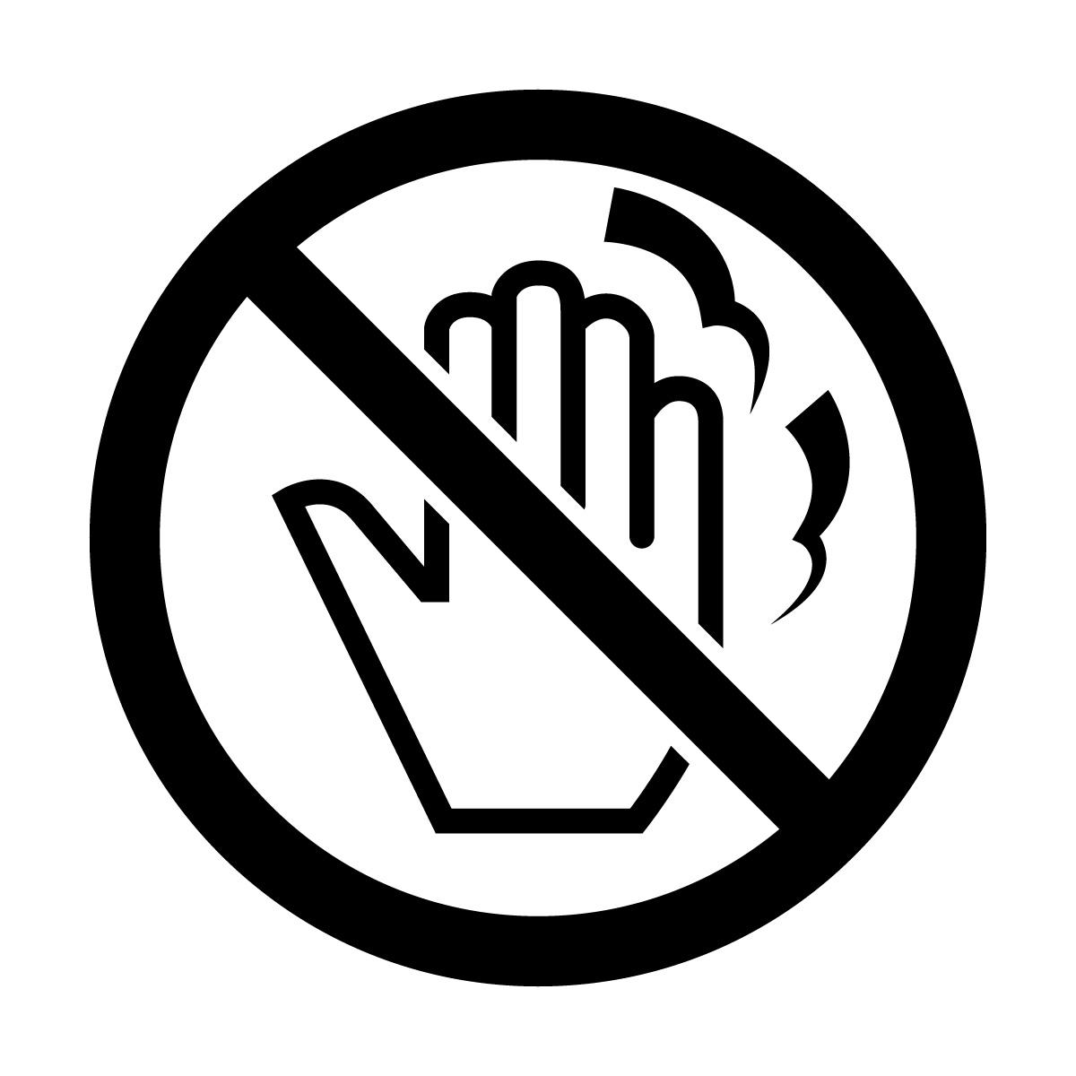 黒色の高温・火傷・さわるな禁止マークのカッティングステッカー・シール