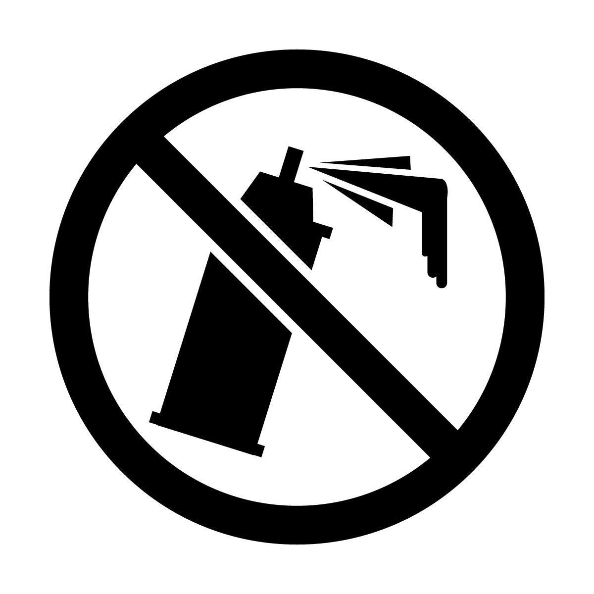 黒色の落書き・スプレー缶禁止マークのカッティングステッカー・シール 光沢タイプ・防水・耐水・屋外耐候3~4年