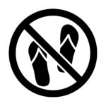 黒色のサンダル禁止マークのカッティングステッカー・シール 光沢タイプ・防水・耐水・屋外耐候3~4年