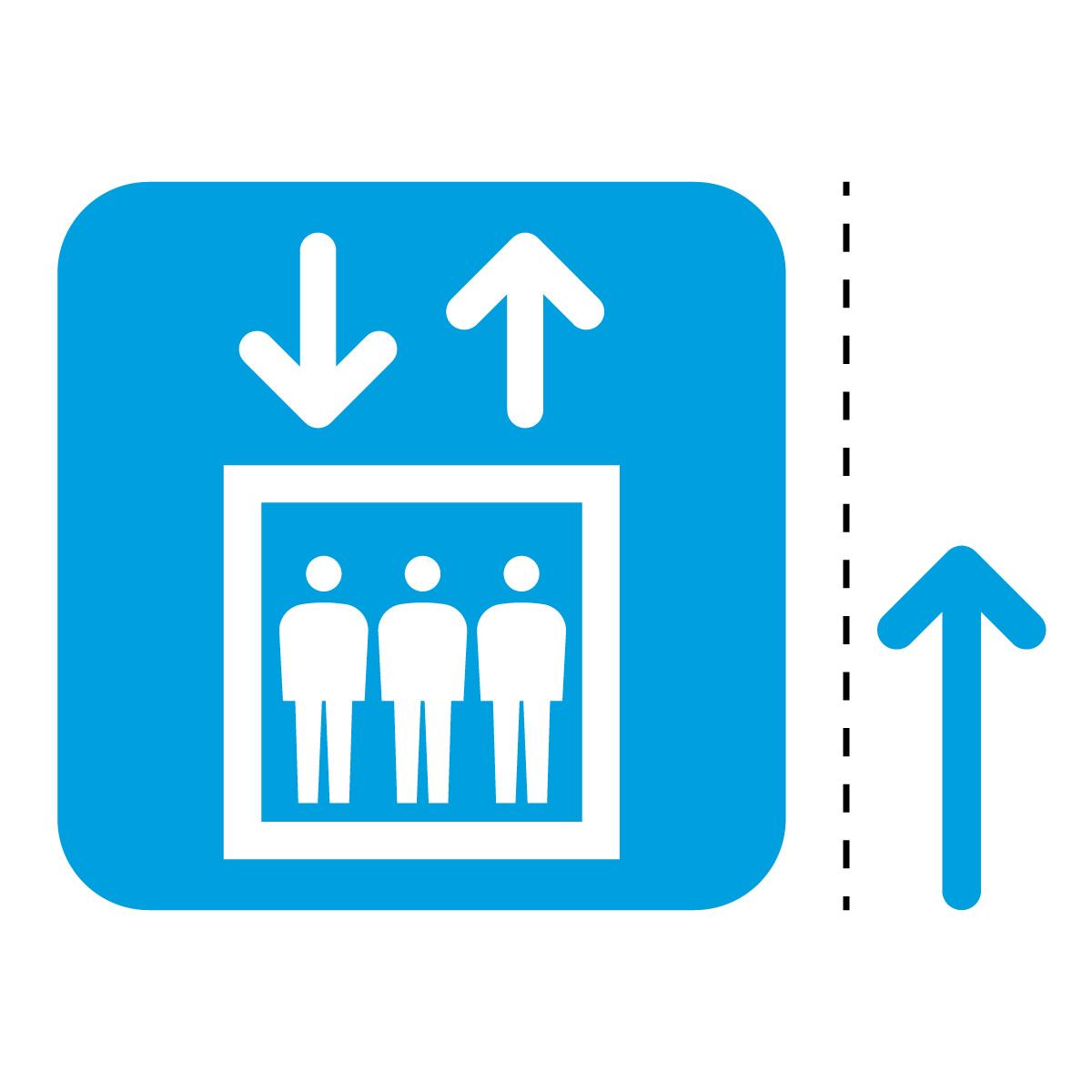 青色のエレベーター案内マーク(矢印付き)のカッティングステッカー・シール 光沢タイプ・耐水・屋外耐候3~4年