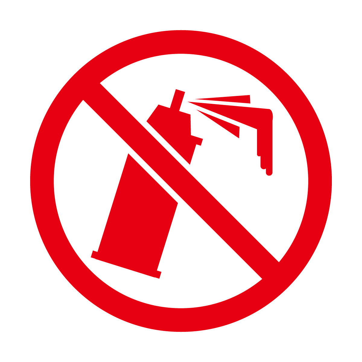 赤色の落書き・スプレー缶禁止マークのカッティングステッカー・シール 光沢タイプ・防水・耐水・屋外耐候3~4年