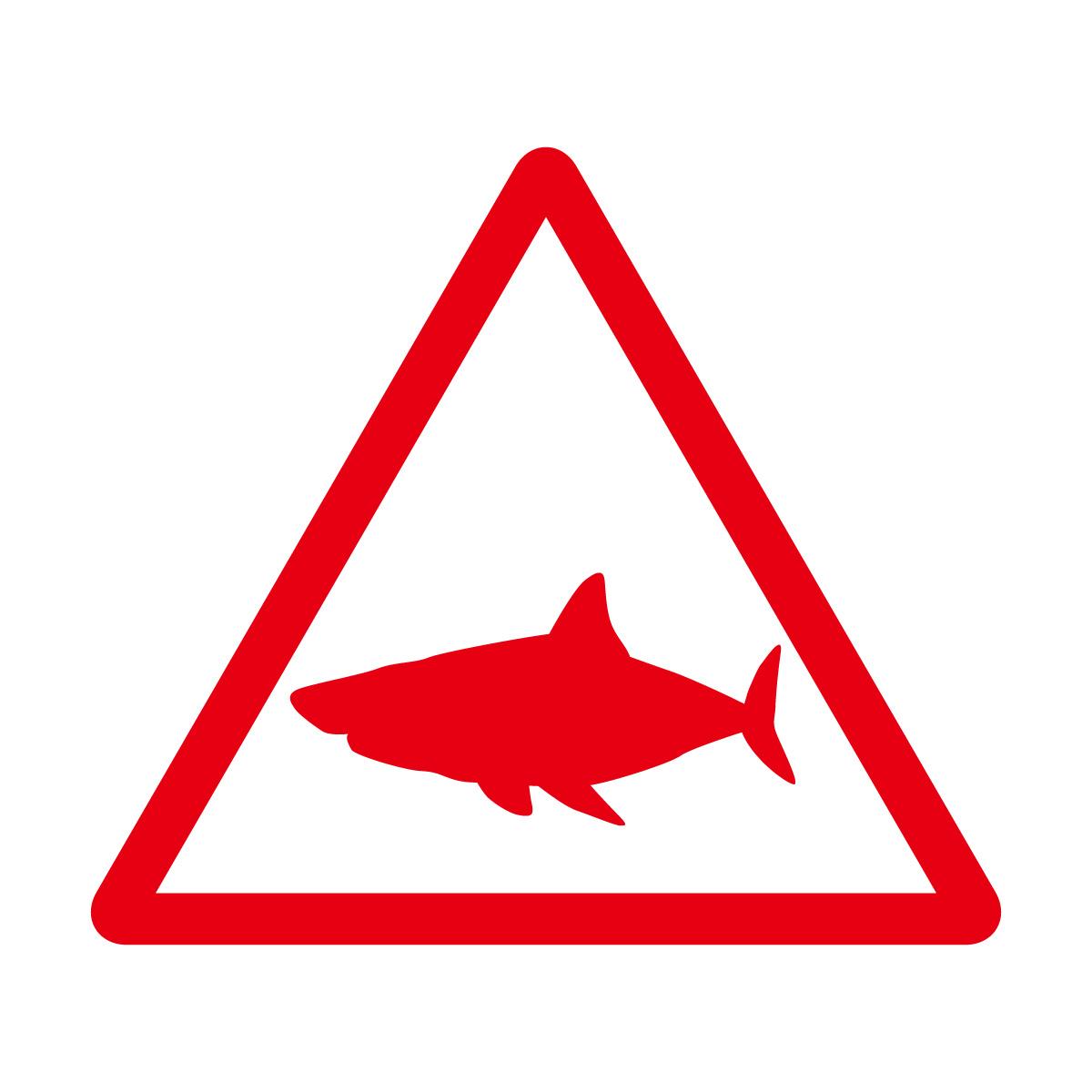 赤色のサメ出没注意マークのカッティングステッカー・シール