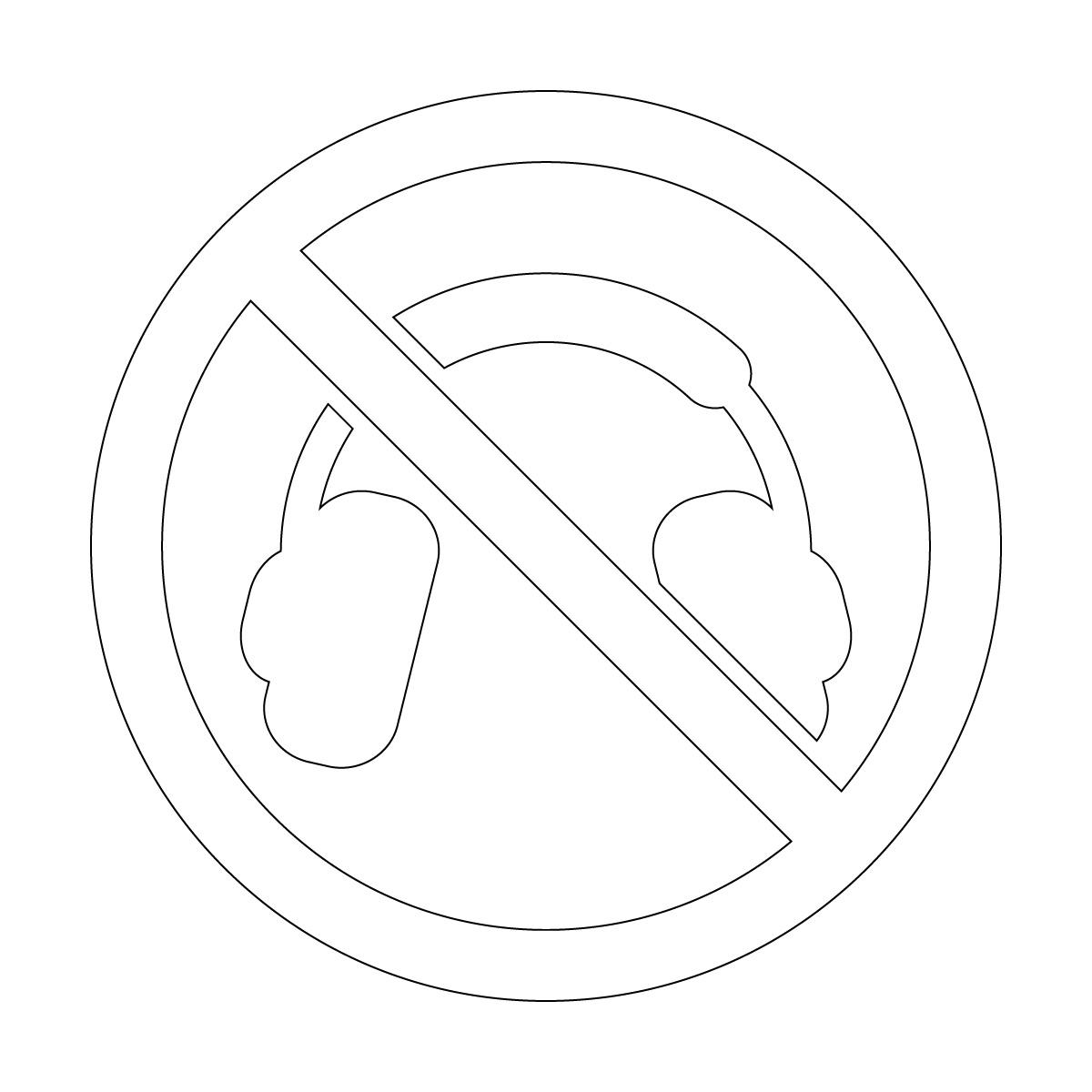 白色のヘッドホン使用禁止マークのカッティングステッカー・シール