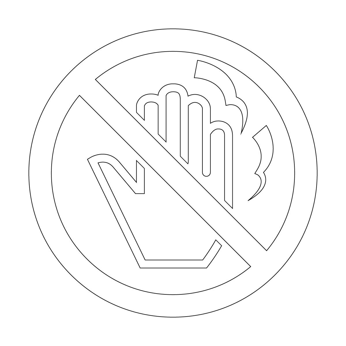 白色の高温・火傷・さわるな禁止マークのカッティングステッカー・シール