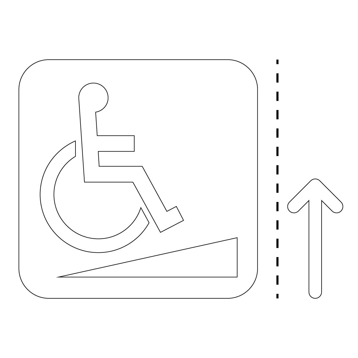 白色の車椅子・障害者スロープ案内マーク(矢印付き)のカッティングステッカー・シール