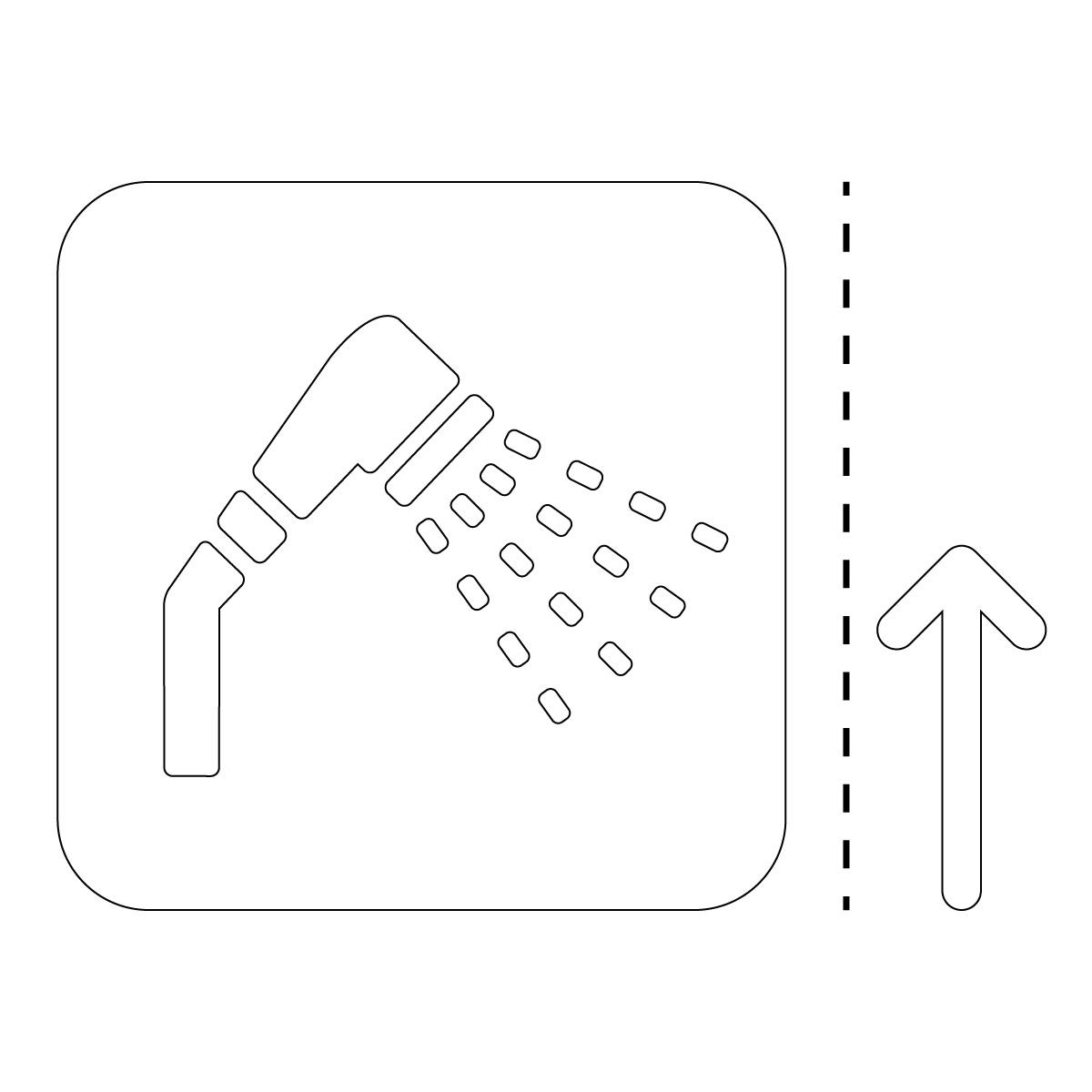 白色のシャワールーム案内マーク(矢印付き)のカッティングステッカー