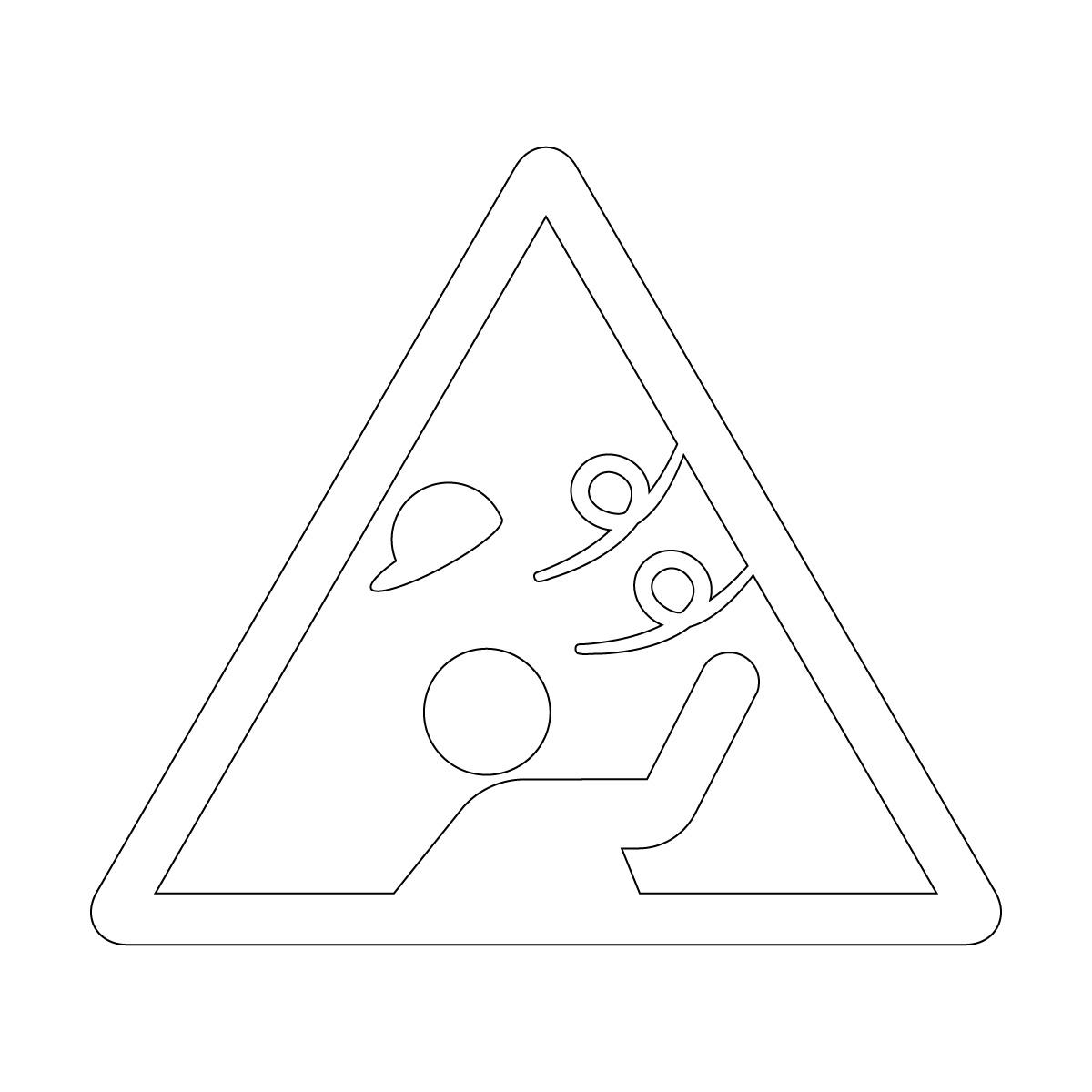 白色の強風注意マークのカッティングステッカー・シール 光沢タイプ・防水・耐水・屋外耐候3~4年