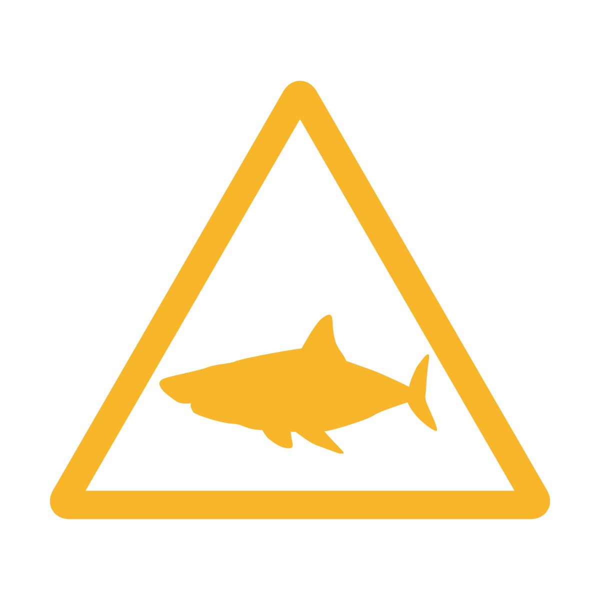 黄色のサメ出没注意マークのカッティングステッカー・シール