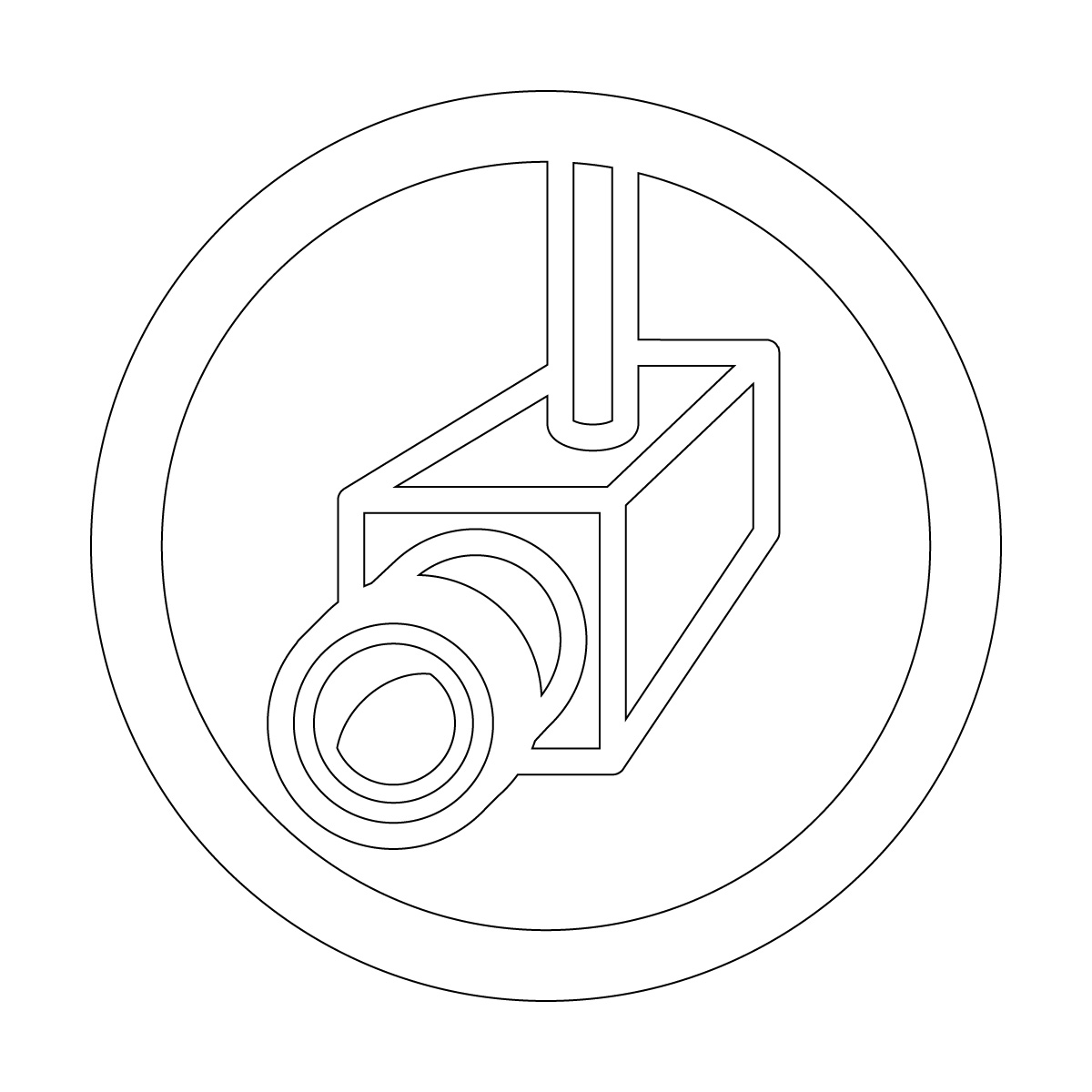 白色の防犯カメラ・撮影中・録画中・万引き対策マークのカッティングステッカー・シール 光沢タイプ・防水・耐水・屋外耐候3~4年