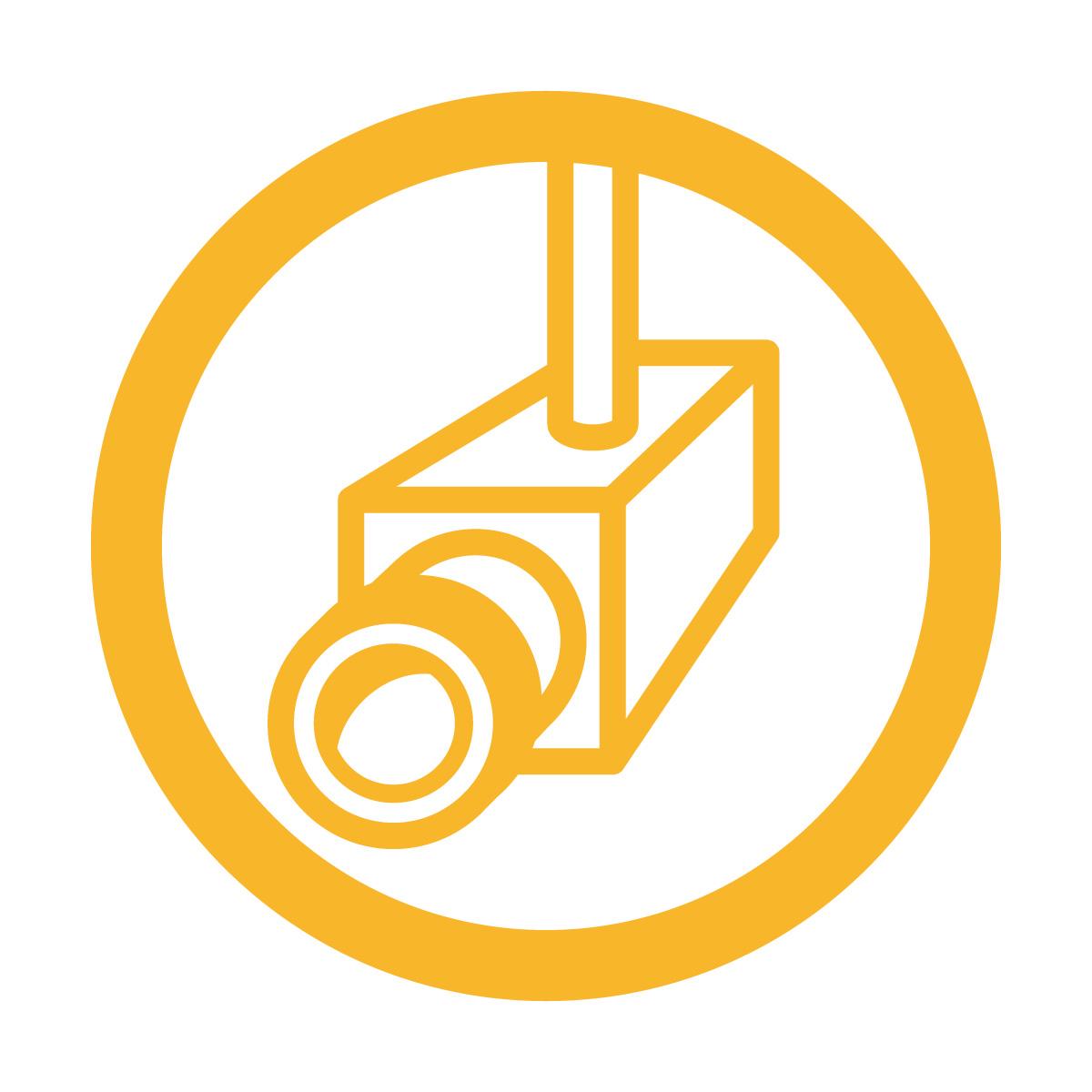 黄色の防犯カメラ・撮影中・録画中・万引き対策マークのカッティングステッカー・シール 光沢タイプ・防水・耐水・屋外耐候3~4年
