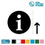 インフォメーション・受付・案内所マーク(矢印付き)のカッティング ステッカー・シール 光沢タイプ・防水・耐水・屋外耐候3~4年