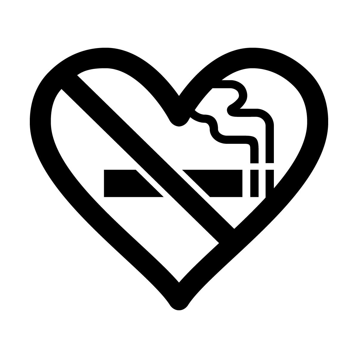 黒色の禁煙 ハート シール ステッカー カッティングステッカー 光沢タイプ・防水 耐水・屋外耐候3~4年
