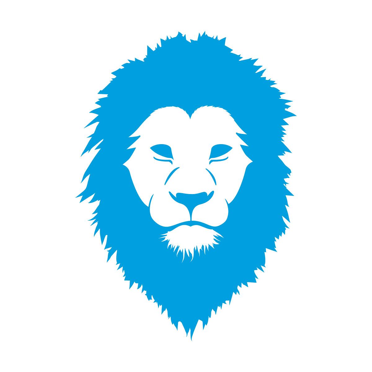 青色のライオン シール ステッカー カッティングステッカー かっこいい 獅子 光沢タイプ・防水 耐水・屋外耐候3~4年