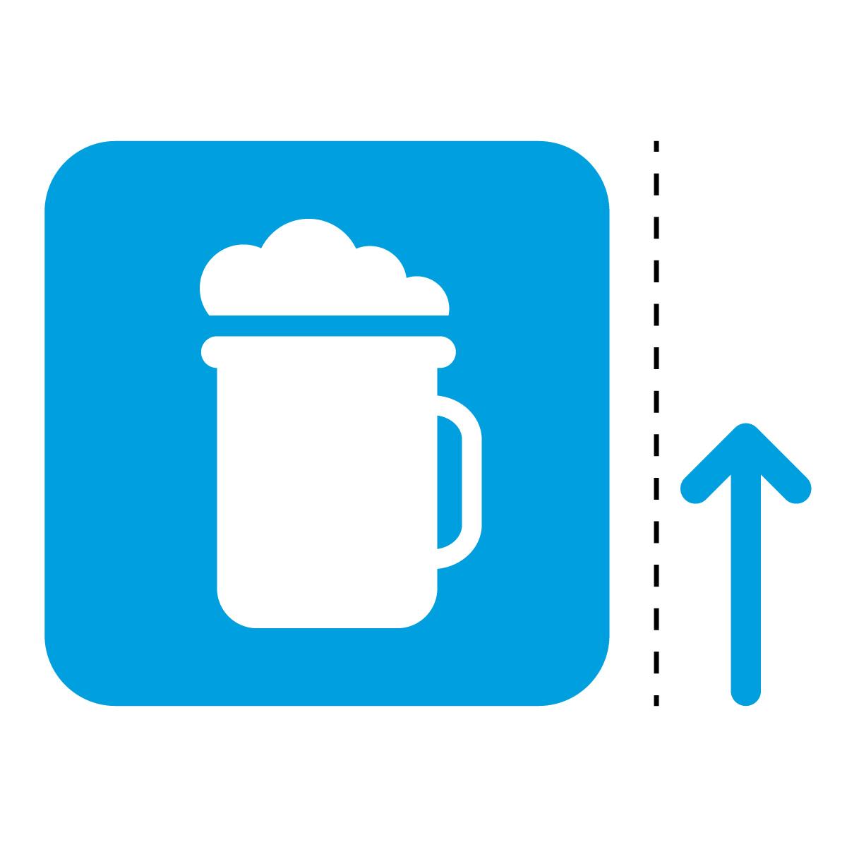 青色のビール アルコール 案内 販売 マーク(矢印付き)のカッティング ステッカー シール 光沢タイプ・防水・耐水・屋外耐候3~4年