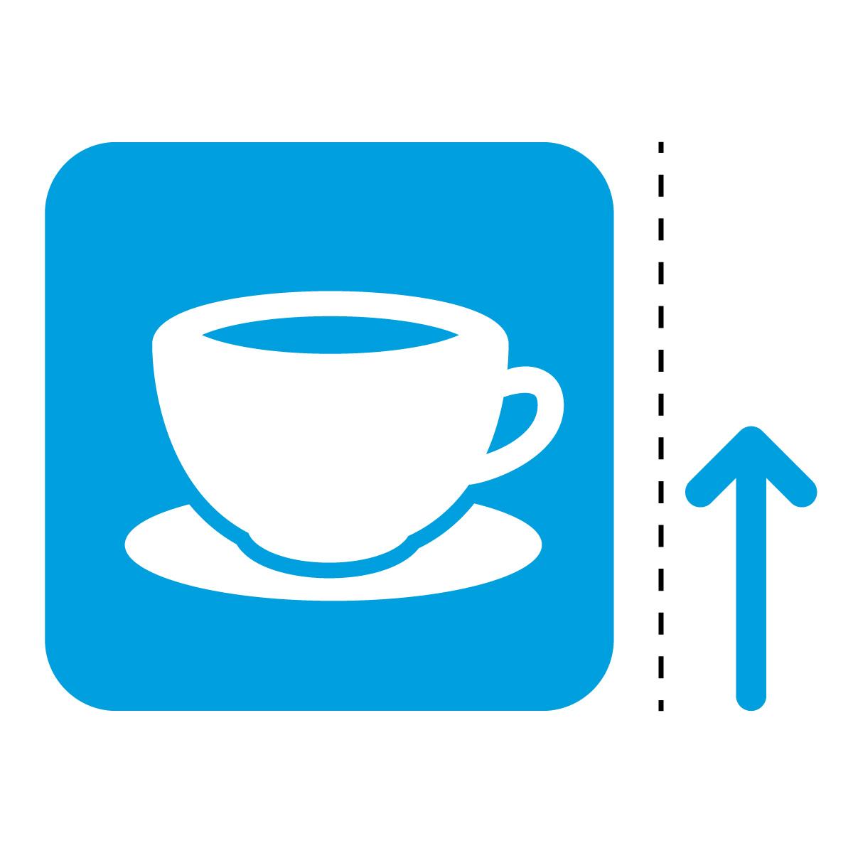 青色のコーヒー カフェ 喫茶店 案内 マーク(矢印付き)のカッティング ステッカー シール 光沢タイプ・防水・耐水・屋外耐候3~4年