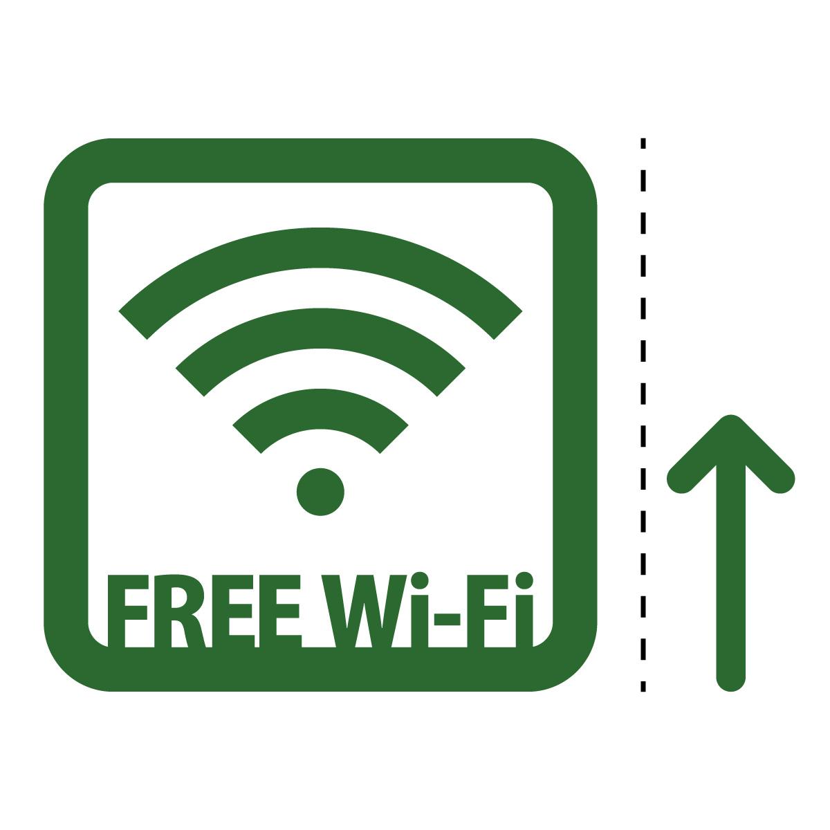 緑色のフリーワイファイ シール ステッカー FREE Wi-Fi 案内(矢印付き) マークのカッティングステッカー 光沢タイプ・防水・耐水・屋外耐候3~4年