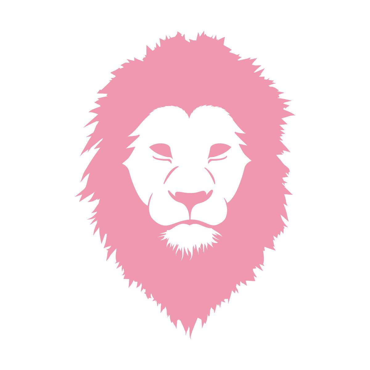 ピンク色のライオン シール ステッカー カッティングステッカー かっこいい 獅子 光沢タイプ・防水 耐水・屋外耐候3~4年