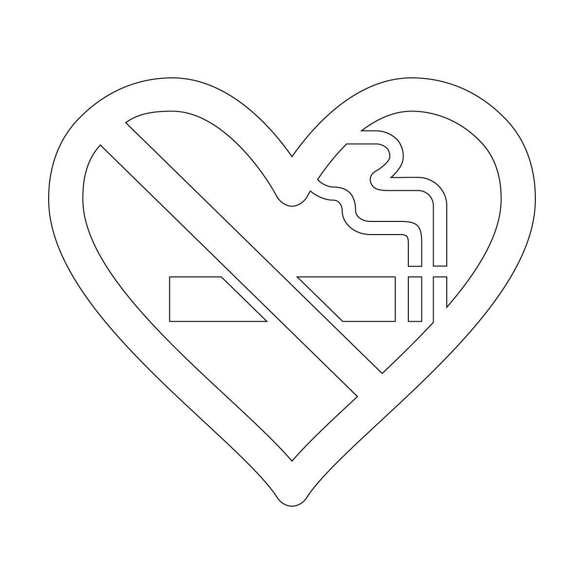 白色の禁煙 ハート シール ステッカー カッティングステッカー 光沢タイプ・防水 耐水・屋外耐候3~4年