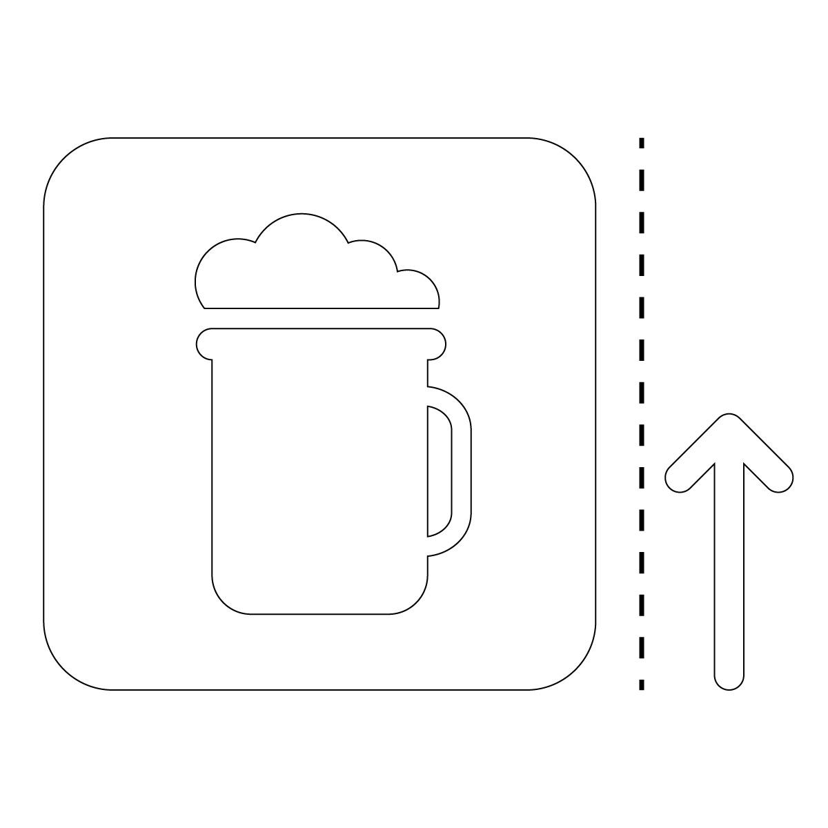 白色のビール アルコール 案内 販売 マーク(矢印付き)のカッティング ステッカー シール 光沢タイプ・防水・耐水・屋外耐候3~4年