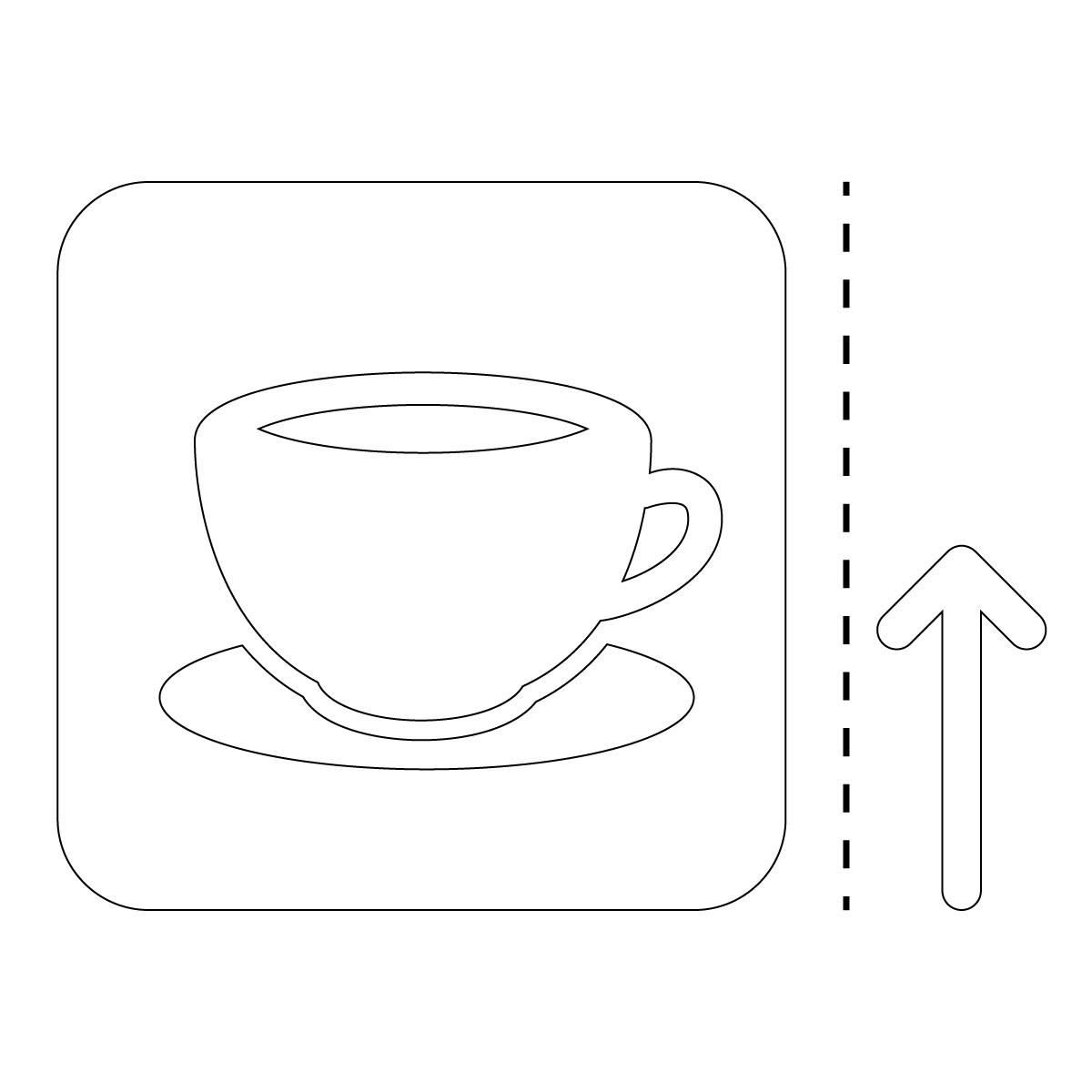 白色のコーヒー カフェ 喫茶店 案内 マーク(矢印付き)のカッティング ステッカー シール 光沢タイプ・防水・耐水・屋外耐候3~4年