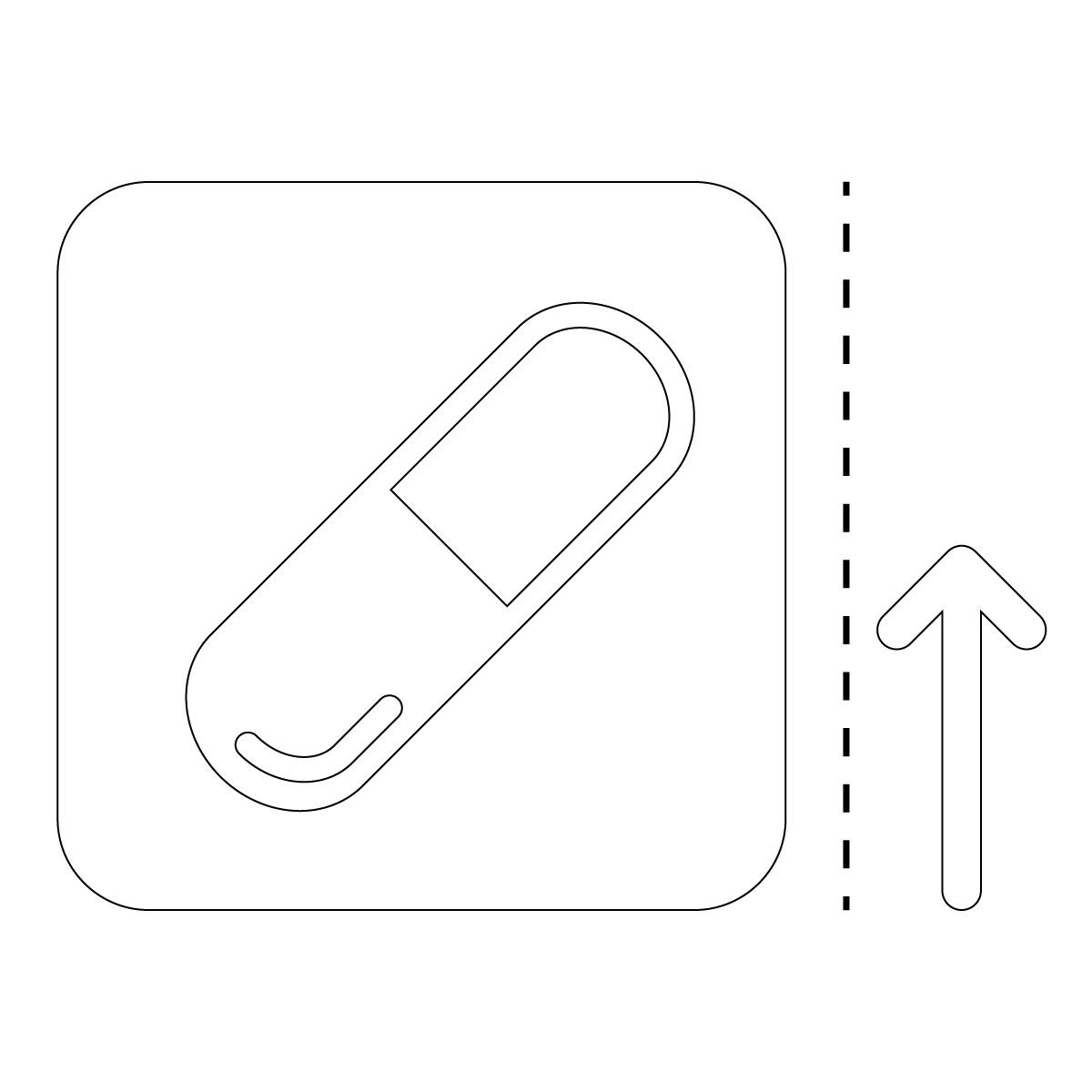 白色のクスリ 薬局 ドラッグストア 案内 マーク(矢印付き)のカッティング ステッカー シール 光沢タイプ・防水・耐水・屋外耐候3~4年