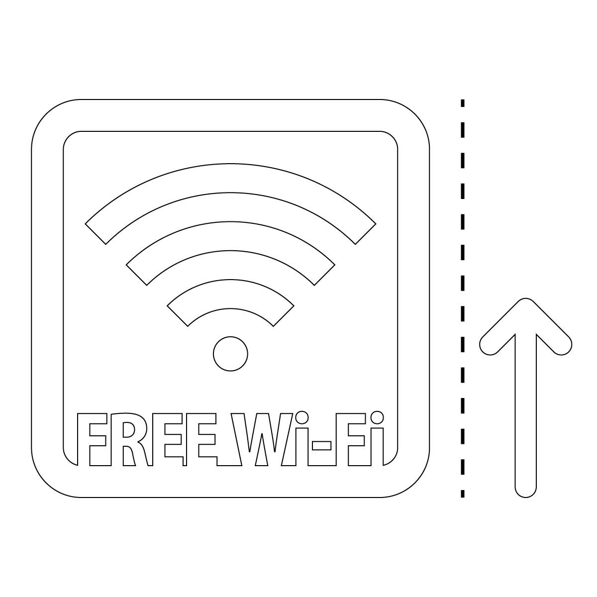 白色のフリーワイファイ シール ステッカー FREE Wi-Fi 案内(矢印付き) マークのカッティングステッカー 光沢タイプ・防水・耐水・屋外耐候3~4年
