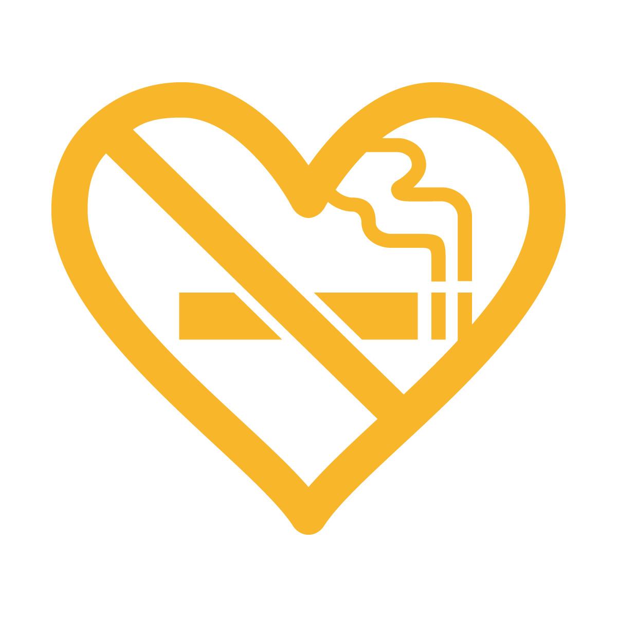 黄色の禁煙 ハート シール ステッカー カッティングステッカー 光沢タイプ・防水 耐水・屋外耐候3~4年